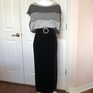 Caché Black Velvet Maxi Skirt with Slit SZ 6